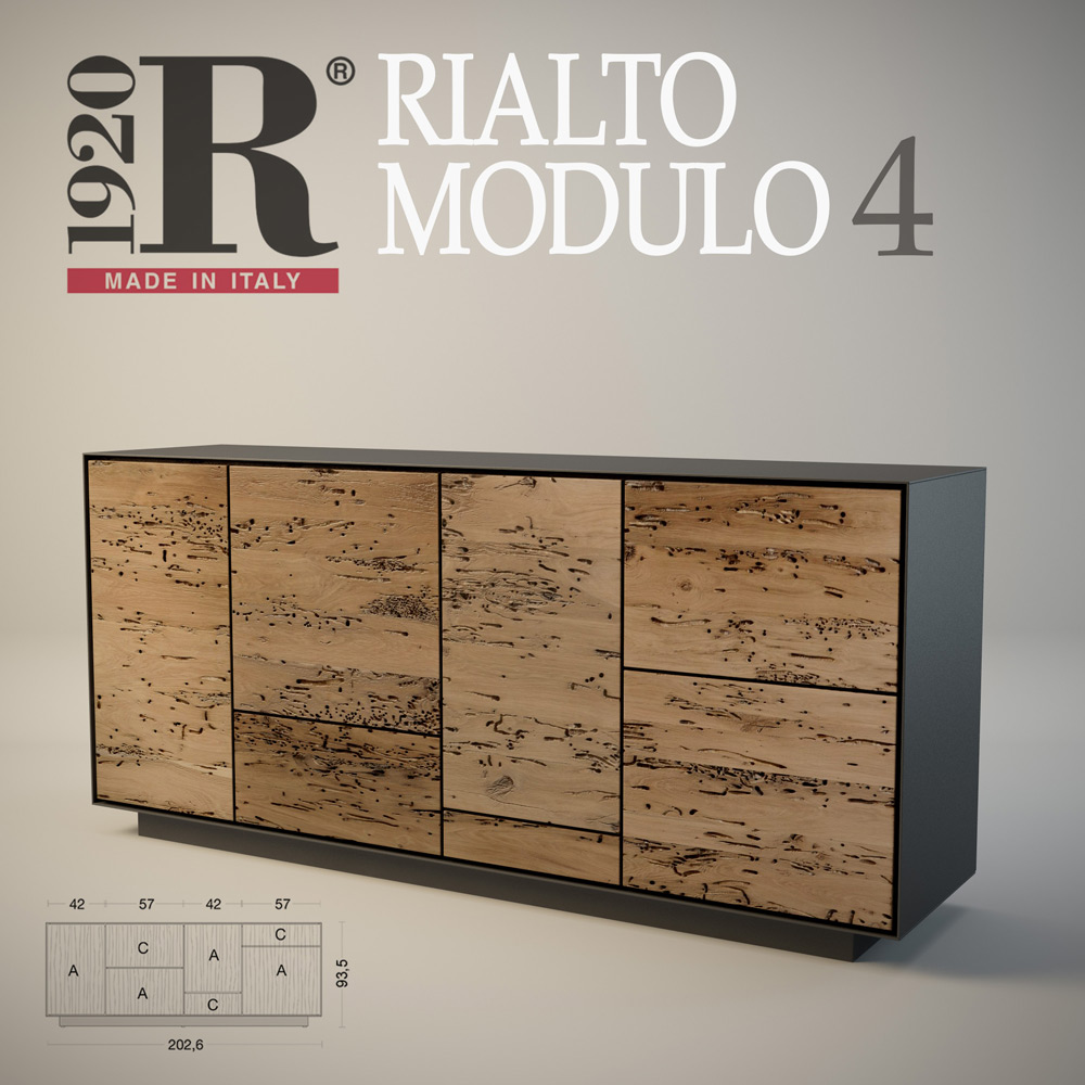 Визуализация комода Rialto modulo 4 фабрики RIVA 1920