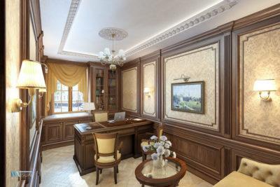 Визуализация кабинета в классическом английском стиле