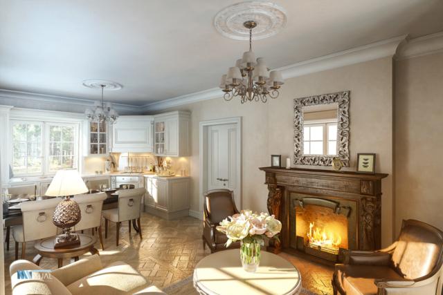 Визуализация гостинной кухня в классическом стиле