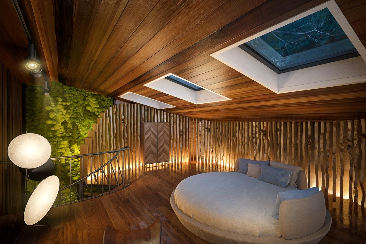 3D Визуализация Эко-Дома в Жуковке — Spa (спальня)
