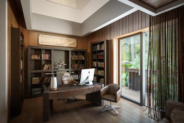 3D визуализация Эко-дом в Жуковке - кабинет