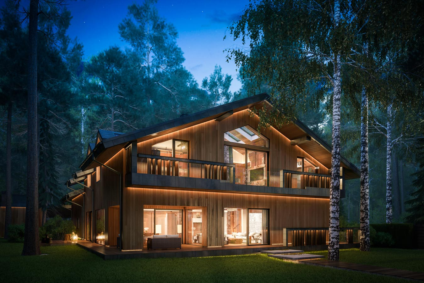3d visualization eco-house in Zhukovka - exterior night
