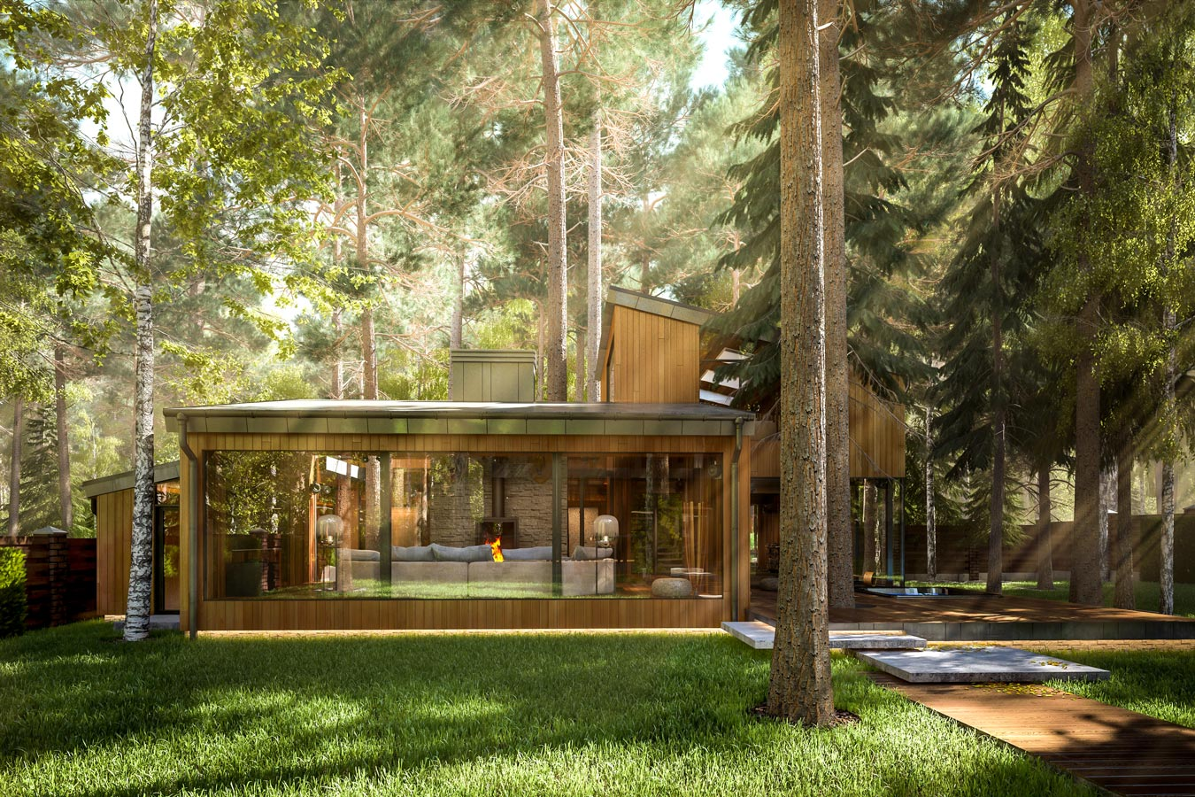 3d visualization eco-house in Zhukovka - exterior SPA