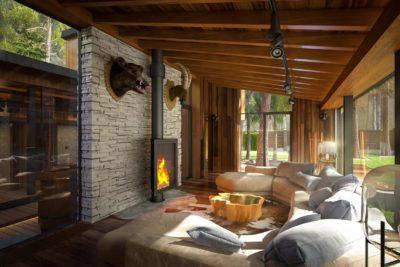 3D Визуализация Эко-Дома в Жуковке — Spa (гостинная)