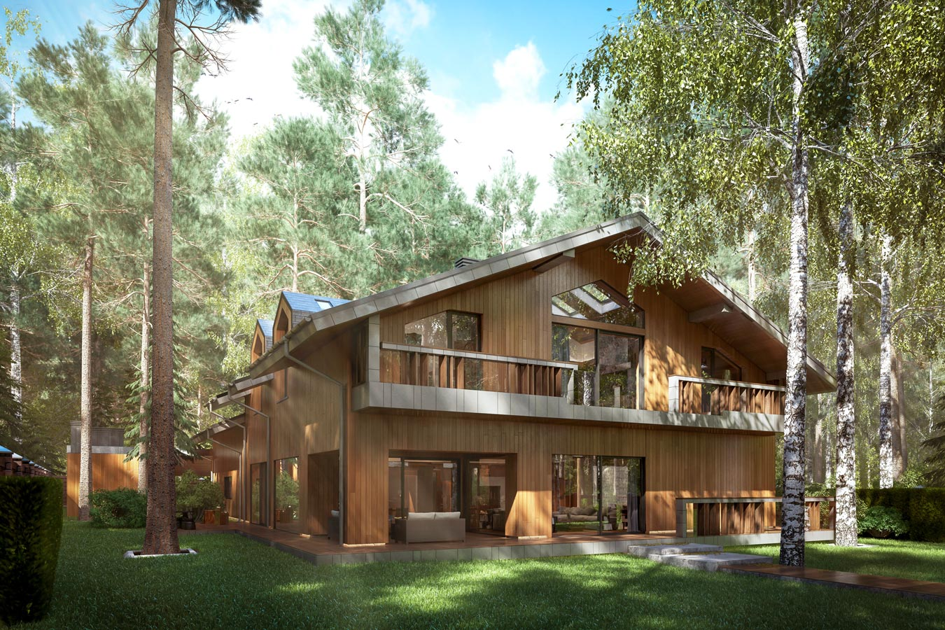3d visualization eco-house in Zhukovka - exterior