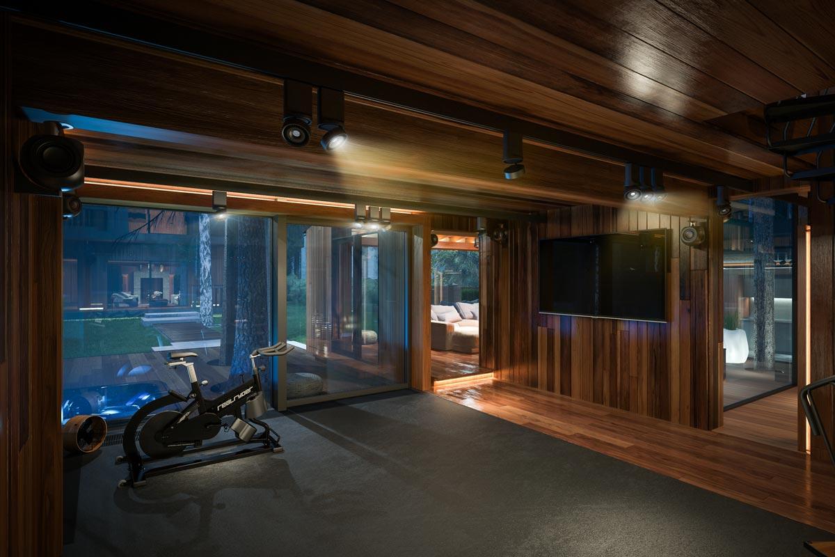 3D Визуализация Эко-Дома в Жуковке - Spa (спортзал)