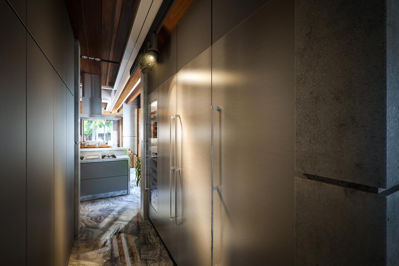 3d visualization eco-house in Zhukovka - kitchen